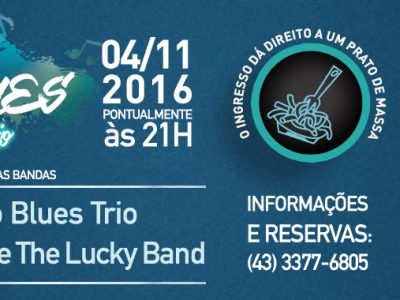 Noite do Blues Solidário com as Bandas: Acústico Blues Trio e Luke de Held e The Lucky Band.